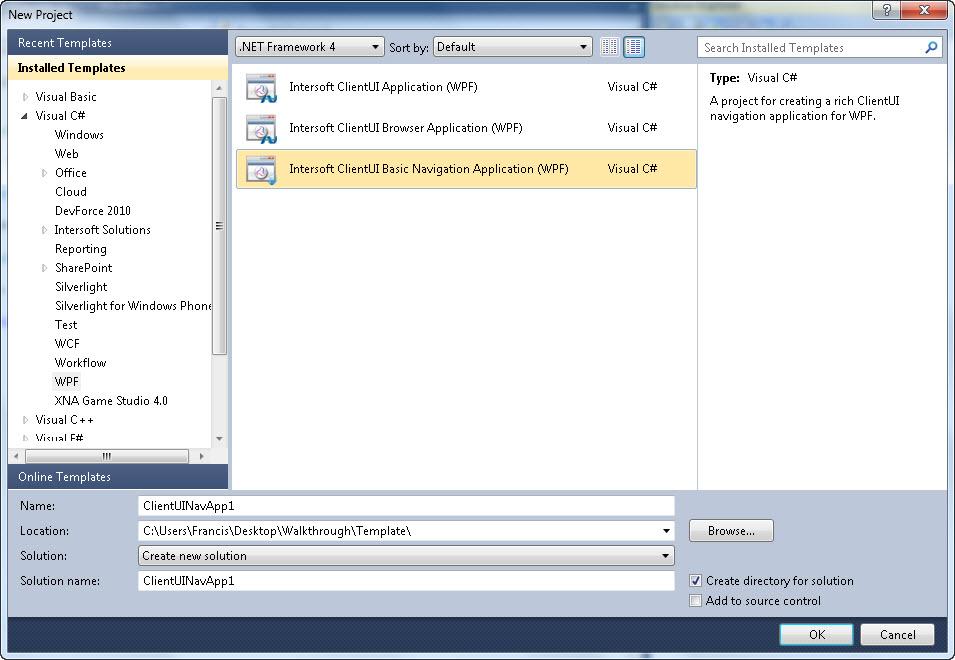 Walkthrough: Create New Intersoft ClientUI Basic Navigation